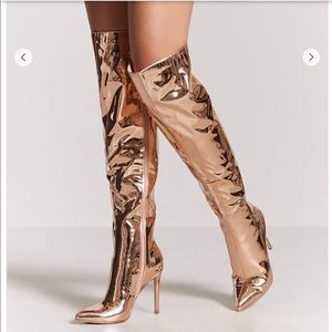 Metallic over the knee boots Rose Gold